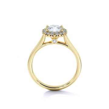 Sasha Primak Contour Cathedral Halo French Pave Set Diamond Engagement Ring with Bezel Detail