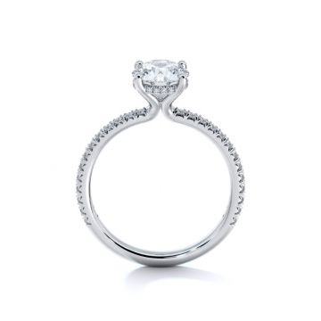 Sasha Primak Thin Embrace 4-Prong French Pave Set Diamond Engagement Ring with Pave Gallery Wire