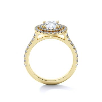 Sasha Primak Round Double Halo Arched Cathedral Pave Ring