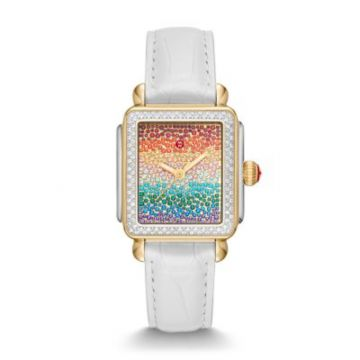 Michele Limited-Edition Deco Carousel Pave Two-Tone Diamond Watch