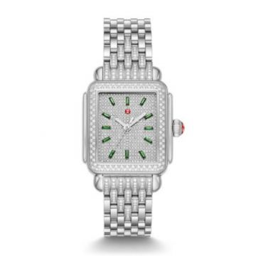 Michele Limited-Edition Deco Stainless Emerald and Pave Diamond Watch