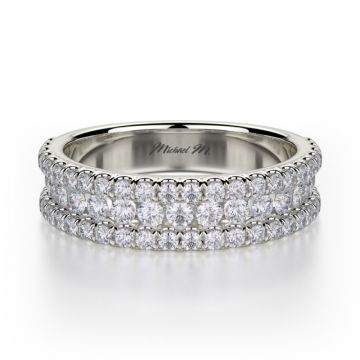 Michael M 18k White Gold Europa  Diamond Anniversary Women's Wedding Band
