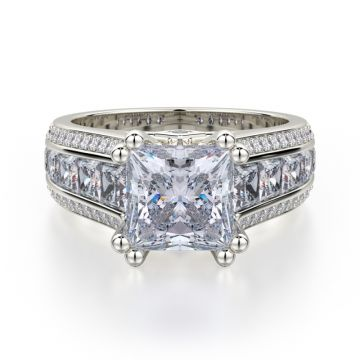 Michael M 18k White Gold Princess Diamond Straight Engagement Ring