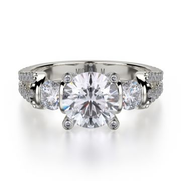Michael M 18k White Gold Europa Diamond Three Stone Engagement Ring