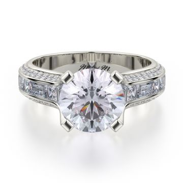 Michael M 18k White Gold Stella Diamond Straight Engagement Ring