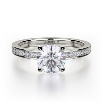 Michael M 18k White Gold Bold Diamond Straight Engagement Ring