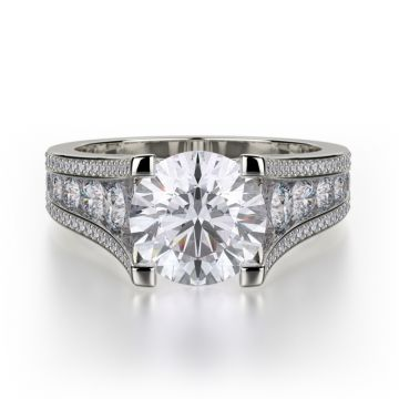 Michael M 18k White Gold Loud Diamond Straight Engagement Ring
