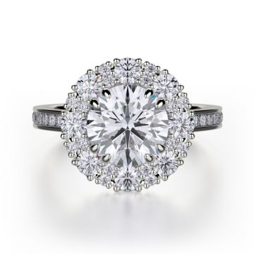Michael M 18k White Gold Bold Diamond Double Halo Engagement Ring