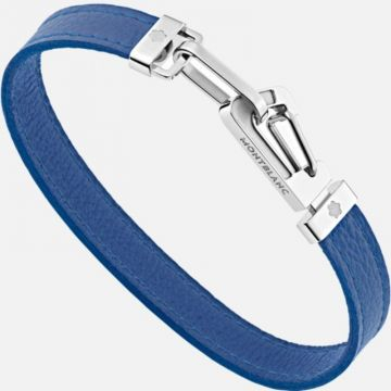 Montblanc Bracelet In Blue Leather With Carabiner Closure In Stainless Steel
