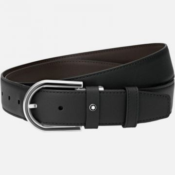 Montblanc Horseshoe Shiny And Matte Stainless Steel And Black Pvd Pin Buckle Belt