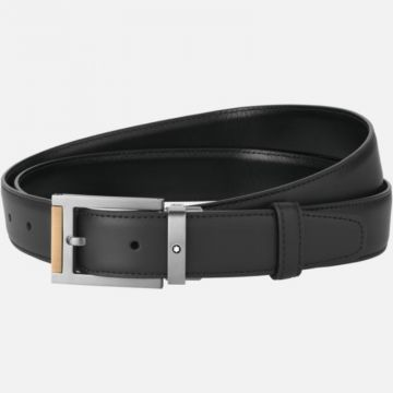 Montblanc Rectangular Stainless Steel Matte Dark And Brown Gold-Coated Pvd Detailing Pin Buckle Belt
