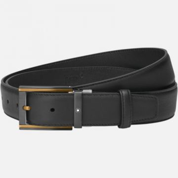 Montblanc Rectangular Stainless Steel Brown Gold-Coated And Black Pvd Pin Buckle Belt
