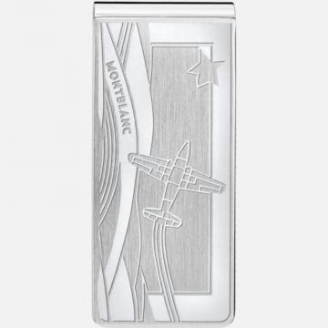 Montblanc Money Clip In Stainless Steel With Airplane Engraving
