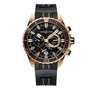 Ulysse Nardin Diver Chronograph 18k Rose Gold 44mm Watch