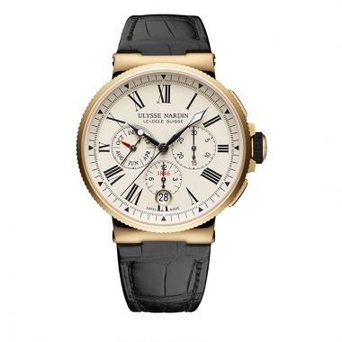 Ulysse Nardin Marine Chronograph 18k Rose Gold 43mm Watch
