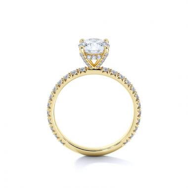 Sasha Primak 4-Prong French Pave Set Head and Shank Engagement Ring