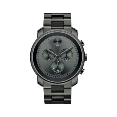 Large Movado Bold Gunmetal Ion-Plated Stainless Steel Chronograph Men's Watch