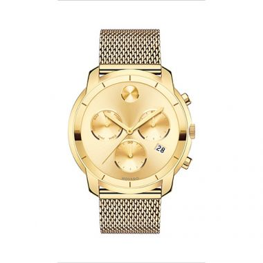Large Movado Bold Yellow Gold Ion-Plated Stainless Steel Chronograph Men's Watch