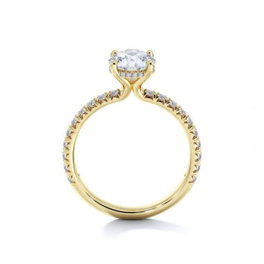 Sasha Primak Embrace 4-Prong French Pave Set Diamond Engagement Ring with Pave Gallery Wire
