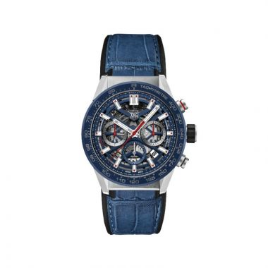 Tag Heuer Carrera Automatic Leather Blue 43mm Watch