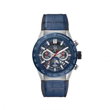 Tag Heuer Carrera Automatic Leather Blue 45mm Watch