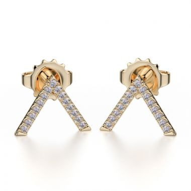 Michael M 14k Yellow Gold Diamond Stud Earrings