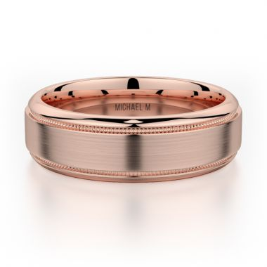Michael M 18k Rose Gold Men's Wedding Band