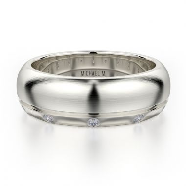 Michael M 18k White Gold Diamond Men's Wedding Band