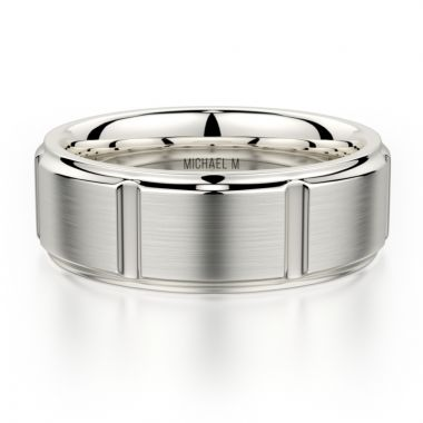 Michael M 14k White Gold Men's Wedding Band