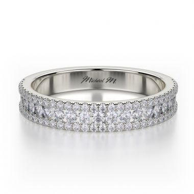 Michael M 18k White Gold Europa  Diamond Wedding Band