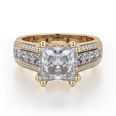 Michael M 18k Yellow Gold Princess Engagement Ring