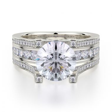 Michael M 18k White Gold Stella Engagement Ring