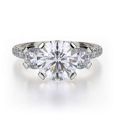 Michael M 18k White Gold Trinity Engagement Ring