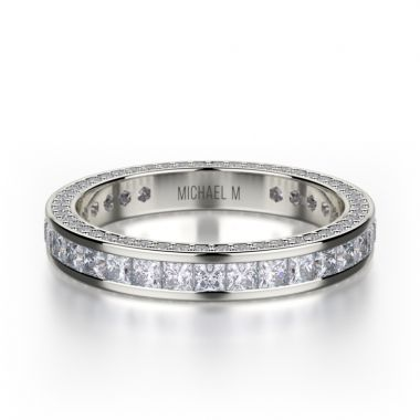 Michael M 18k White Gold Diamond Eternity Women's Wedding Band