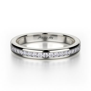 Michael M 18k White Gold Amore  Diamond Anniversary Women's Wedding Band