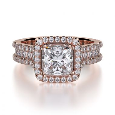 Michael M 18k Rose Gold Princess Engagement Ring