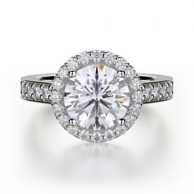 Michael M 18k White Gold Love Engagement Ring