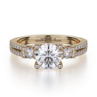 Michael M 18k Yellow Gold Trinity Engagement Ring