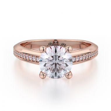 Michael M 18k Rose Gold M Engagement Ring