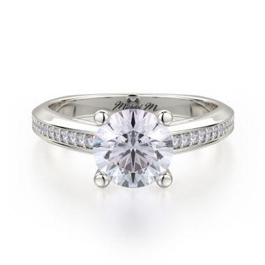 Michael M 18k White Gold M Engagement Ring