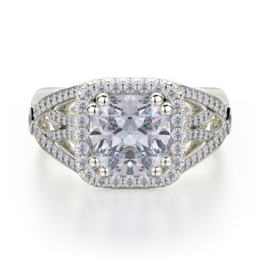 Michael M 18k White Gold Princess Engagement Ring
