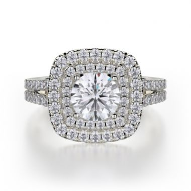 Michael M 18k White Gold Europa Engagement Ring