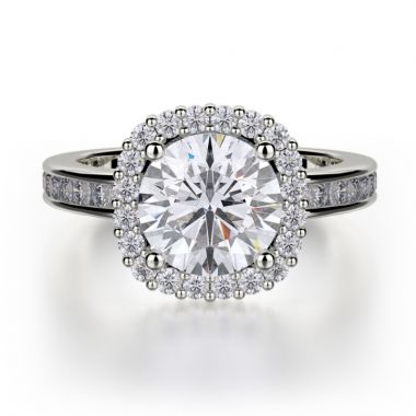 Michael M 18k White Gold Strada Diamond Halo Engagement Ring
