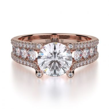 Michael M 18k Rose Gold Strada Engagement Ring