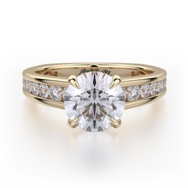 Michael M 18k Yellow Gold Crown Engagement Ring