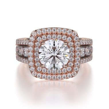 Michael M 18k White Gold Double Halo Engagement Ring