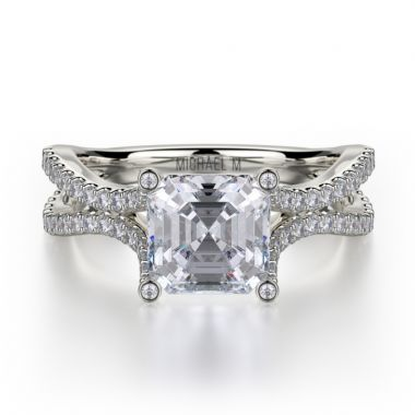 Michael M 18k White Gold Defined Diamond Split Shank Engagement Ring