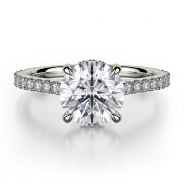 Michael M 18k White Gold Crown Engagement Ring