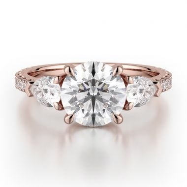 Michael M 18k Rose Gold Trinity Engagement Ring