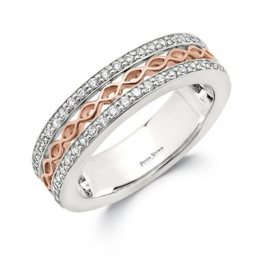 Peter Storm 14k White Gold, Rose Curved Wedding Band